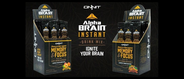 An in-store display of Alpha Brain prducts